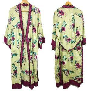 Soft Surroundings Floor Length Robe Belted Kimono